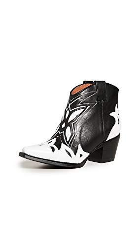 Jeffrey Campbell Women's Tooney Western Booties, White/Black, 8 M -