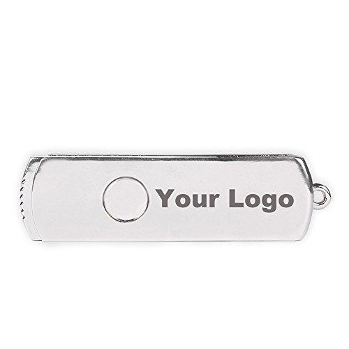 Personalized Logo USB Flash Drive 8GB Metal Swivel Thumbdrive Memory Stick 10 - Custom Pens Usb