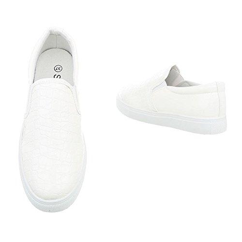 Freizeitschuhe D17 Damenschuhe Weiß Sneakers Low Moderne Ital Low Design Sneakers q6z0qaOg