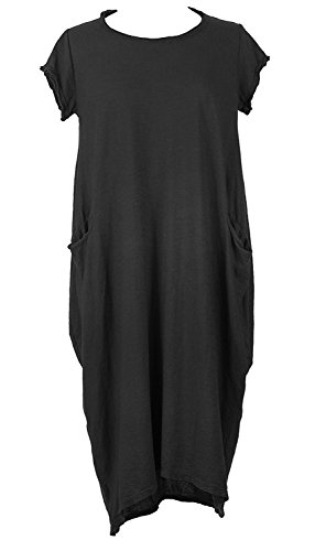 Ladies Women Italian Lagenlook Cap Sleeve Plain 2 Pocket Cotton Jersey Tulip Midi Dress One Size (Black, One Size) - Jersey Tulip Dress