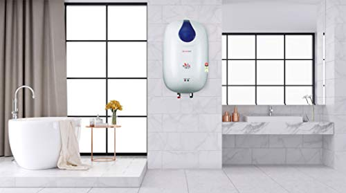 LONGWAY® HOT Spring 3 LTR Instant Water Heater GEYSERS ABS Body HD ISI Element Glass Type SS 304 Grade Tank (White Blue)