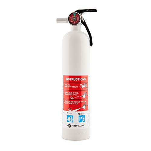 Multi Purpose Fire Extinguisher - First Alert Fire Extinguisher | Car and Marine Fire Extinguisher, White, FE10GR