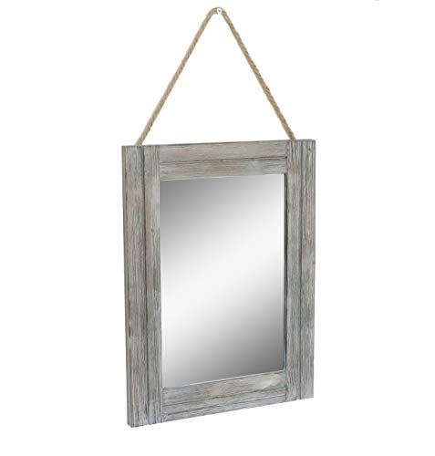 Emaison 16 X 12 Inch Rustic Wood Framed Wall Mirror with Hanging - Bathroom 50 Dollars Looking Mirrors Rustic Under