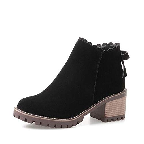 Black 7.5 US Black 7.5 US Women's Fashion Boots Suede Fall Boots Chunky Heel Closed Toe Booties Ankle Boots Black Khaki