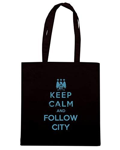 Speed Shirt Borsa Shopper Nera WC0427 KEEP CALM AND FOLLOW CITY