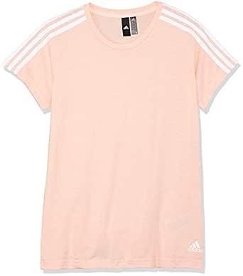 adidas Women's CZ5779 Essentials 3-Stripes Slim T-Shirt, Haze Coral/White, X-Small