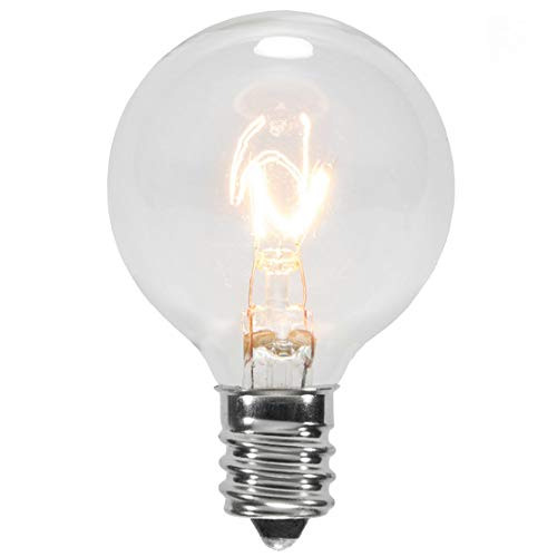 25 Pack - Clear G40 Globe Light Bulbs For Patio String Lights Fits E12 and C7 Base 5 Watt G40 Replacement Bulbs For Patio Lights ()