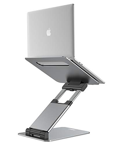 Nulaxy Laptop Stand, Ergonomic Sit to Stand Laptop Holder Convertor, Adjustable Height from 2.1 to 21, Supports up to 22lbs, Compatible with MacBook, All Laptops Tablets 10-17 - Space Grey