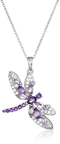 Amethyst with White Topaz Dragonfly Pendant Necklace