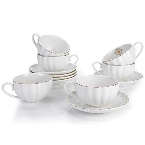 Royal Tea Cups and Saucers, with Gold Trim and Gift Box, British Coffee Cups, Porcelain Tea Set, Set of 6 (8 oz)- white