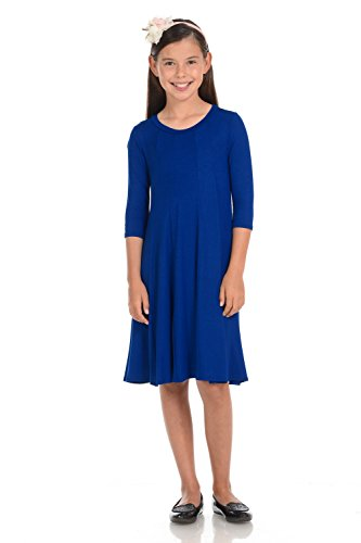Honey Vanilla Girls' A-Line Trapeze Dress Large 9-10 Years Royal Blue ()