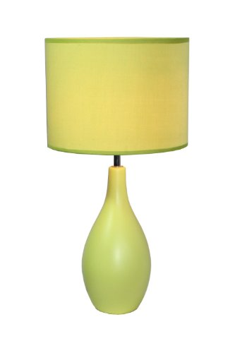 Simple Designs LT2002-GRN Oval Bowling Pin Base Ceramic, Green Table Lamp, ()
