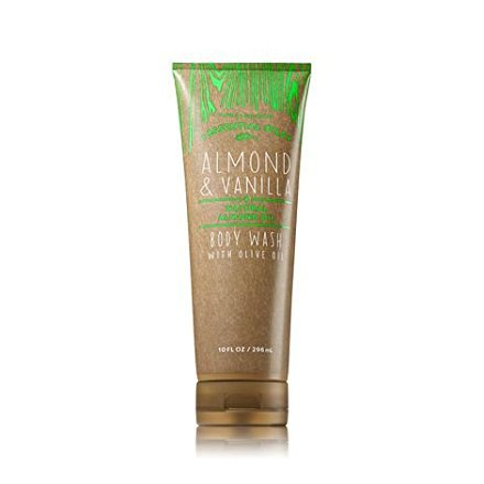 Bath and Body Works Oilve Oil Body Wash Almond and Vanilla plus Essential Natural Almond Oil and Olive Oil 10 Ounce Full Size Tan Green Packaging