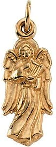 14K Yellow-Angel with Harp Pendant