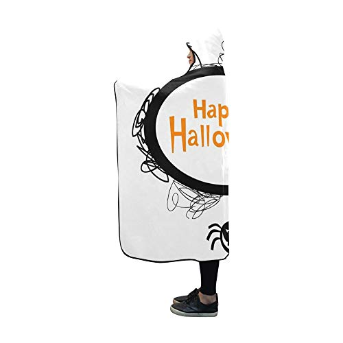 YUMOING Hooded Blanket Halloween Frame Silhouettes Black Cat Blanket 60x50 Inch Comfotable Hooded Throw Wrap