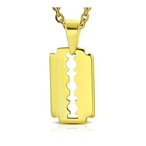 (Stainless Steel Gold Color Plated Razor Blade Charm Pendant)