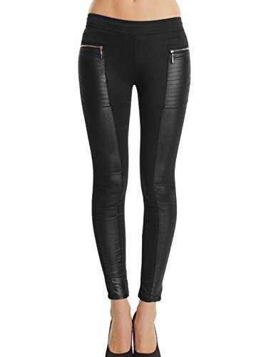 uxcell Women Elastic Waist Imitation Leather Panel Leisure Leggings Black M (Imitation Leather Zipper)