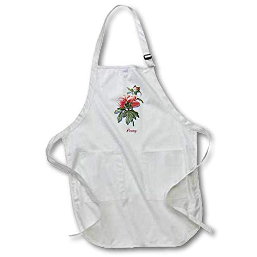 3dRose Pretty Pink Peony Flower with Bud Botanical Print - Full Length Apron, 22 by 30-Inch, White, with Pockets (apr_173796_1)