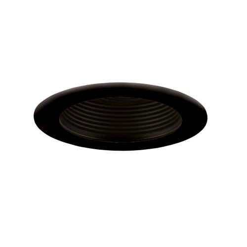 Jesco Lighting TM401BKBK 4-Inch Aperture Low Voltage Trim Recessed Light, Adjustable Step Baffle, All Black Finish (Recessed Vertical Step Light)