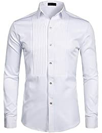 Mens Slim Fit Long Sleeve Tuxedo Dress Shirts/Prom Performing Shirts