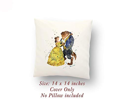 Beauty and the Beast dancing Love Gift 14 x 14 inches Pillow Cover