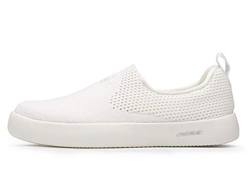 - ONEMIX Men's Slip On Sneakers,Summer Breathable Lightweight No Tie Casual Walking Shoes,All White,Size 8.5