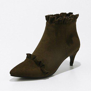 RTRY Zapatos De Mujer Cuero De Nubuck Primavera Otoño Lanilla Forro Fashion Botas Botas Kitten Heel Señaló Toe Botines/Botines De Cremallera Ruched US9.5-10 / EU41 / UK7.5-8 / CN42