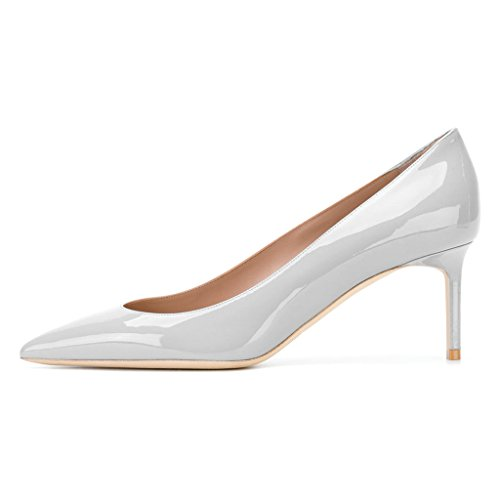 Xyd Donna Elegante Brevetto Scarpe Tacco Alto Scarpe A Punta Slip On Sera Party Dress Scarpe Argento