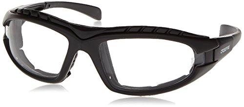 Crossfire 2724AF Diamondback Safety Glass Clear Anit-Fog Lens - Foam Lined Matte Black - Sunglasses Foam Lined