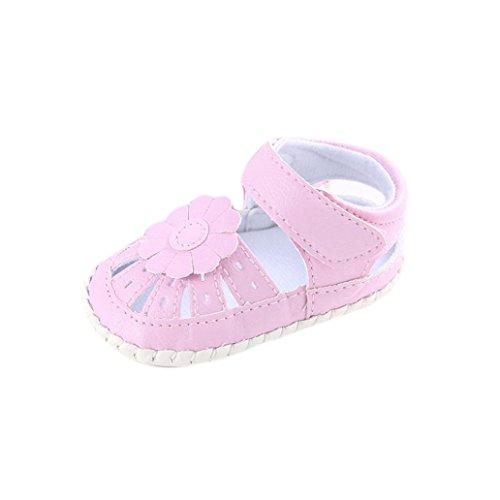 Hunpta Baby Mädchen Leder Schuh Anti-Rutsch weiche Sohle Kleinkind (Alter: 6 ~ 12 Monate, Gelb) Rosa