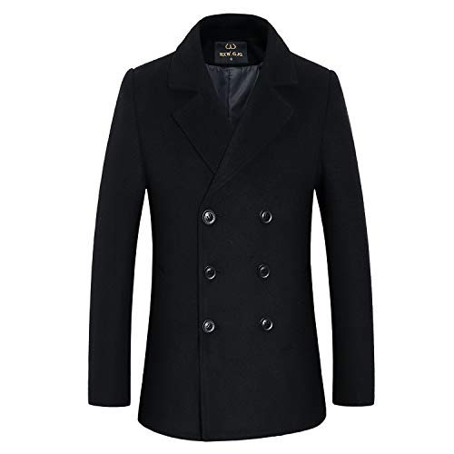 Men's Premium Wool Blend Double Breasted Long Pea Coat (Black 3, Medium)