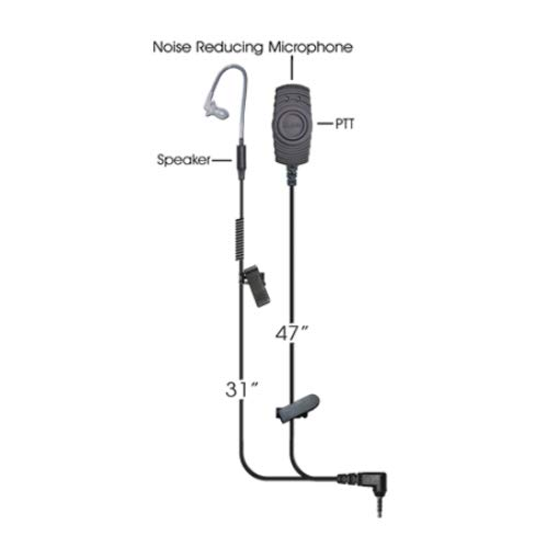 Klein Victory 2-Wire Surveillance Earpiece Headset Push to Talk Over Cellular POC Apple iOS Android ProPTT2 App