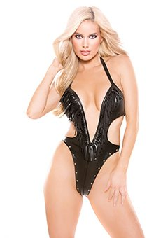Naughty Faux Leather Deep Neckline Teddy Black O/s by Allure Lingerie