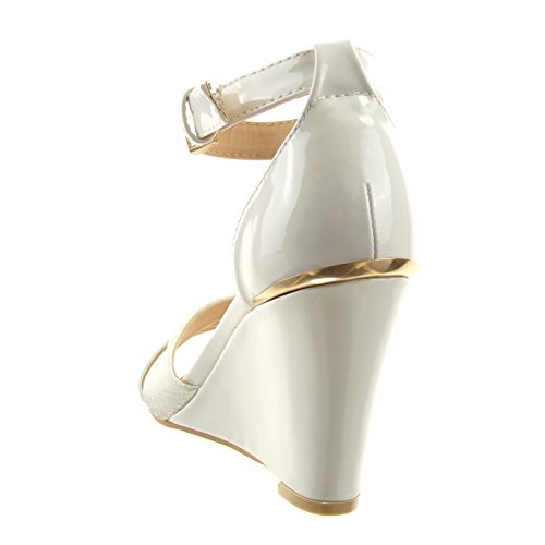 Sopily - Zapatillas de Moda Sandalias Tobillo mujer piel de serpiente patentes Hebilla Talón Plataforma 9 CM - plantilla sintético - Blanco