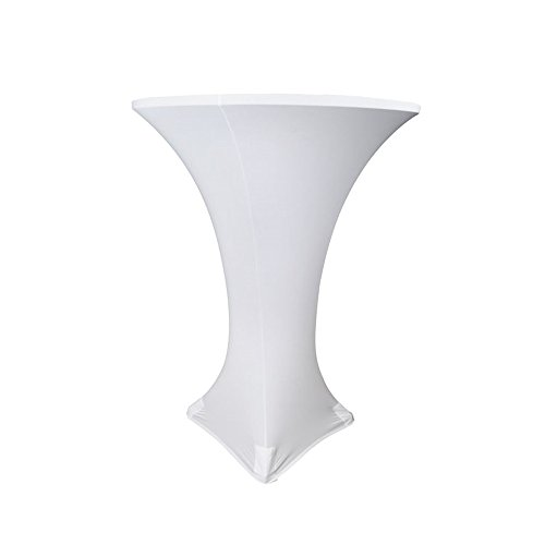 LOVWY 30 Inch (2.5 FT) Spandex Cocktail Table Cover Fitted Stretch Tablecloth for Decoration of Wedding Engagement Club Bar Outdoor Party (White, 30 Inch)