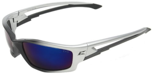 Edge Eyewear SK118 Kazbek Safety Glasses, Black with Blue Mirror - Sunglasses Edge