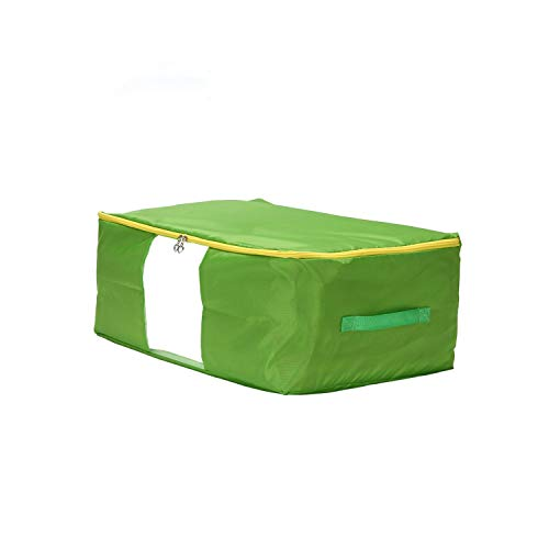 Asteria-Ashley Oxford Quilt Storage Bag Collapsible Comforter Container Home Storage Organizer Blanket Clothing Storage Bags,XL 60x50x30cm,Green Yellow Zipper