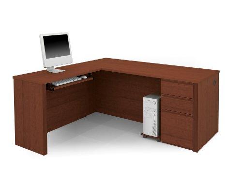Bestar Prestige L-shaped Workstation - BER9986076 - Bestar Prestige + L-shaped workstation kit in Cognac Cherry