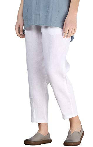 (Mordenmiss Women's Linen Ankle Pants Relaxed-fit Capris Lounge Trousers with Slant Pockets (2XL,White) )