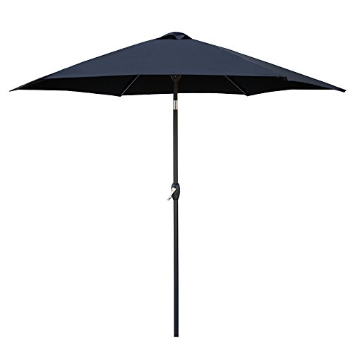 Le Papillon 9 ft Outdoor Patio Umbrella Aluminum Table Market Umbrella 6 Ribs Crank Lift Push Button Tilt, Black