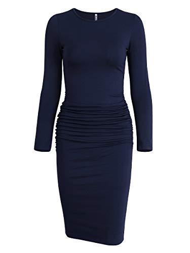 - Missufe Women's Ruched Casual Sundress Midi Bodycon Sheath Dress (Long Sleeve Dark Blue, Medium)