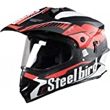 Steelbird Mens ISI Certified Off Road Racing Helmet - SB-42 Airborne Glossy Finish with Plain Visor (L-600MM, Glossy Black with Red)