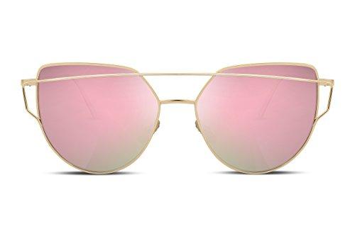 de Planas Moda B2206 Ojo FEISEDY Gato Lentes con de Espejo Mujeres Sol de Metal Marco rosa Gafas de 0IqPwqF