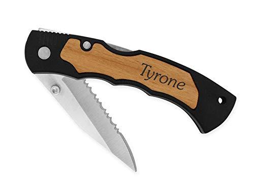 - Dimension 9 Laser Engraved Alder Wood Personalized Stainless Steel Blade Folding Pocket Knife with Clip, Daniel, Black (Renewed)