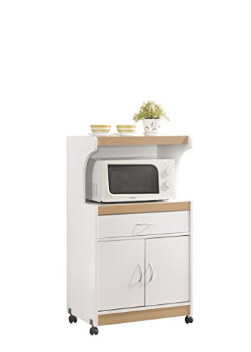 Hodedah Microwave Cart with One Drawer, Two Doors, and Shelf for Storage, White Two Doors One Drawer