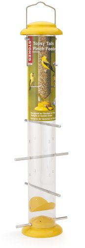 Stokes Select Topsy Turvy Finch Bird Feeder with Eight Perches, Yellow, 19-Inch tall, 1.5 lb Capacity - 3 Tube Finch Feeder