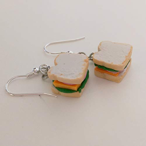 Sandwich Ham and Cheese Earrings Faux Food Drink Jewelry Halloween Christmas