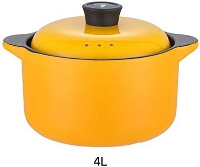 CONCEN クリエイティブグリーン大容量キャセロールスープ鍋粥セラミック鍋家庭用の高耐熱性のガス火災ダブル耳シチューポットストーンポット4L (Color : Yellow, Size : 4L)