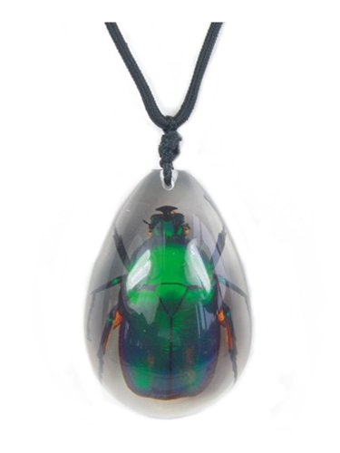 WeGlow International WGI Large Insect Green Rose Chafer Beetle Necklace