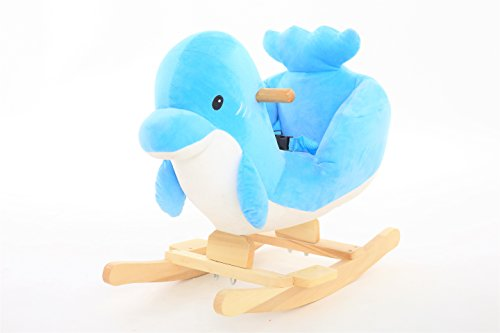 DanyBaby Ultra Soft Rocking Animal Ride On Plush Dolphin Chair Embroidered Words ''I Love My Baby!'' by DanyBaby